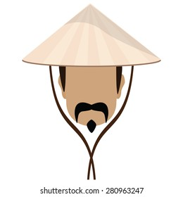 Asian Man In Conical, Straw Hat And Mustache Vector Illustration. Chinese  Hat With Strings
