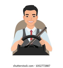 asian man driving a car. man clothing in casual cloth