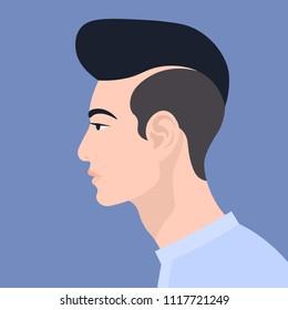 Asian man. The guy's head in profile. Portrait. Avatar. Vector Flat Illustration