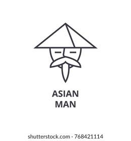 asian man line icon, outline sign, japanese man linear symbol, asian avatar vector, flat illustration