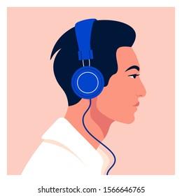 Asian man listen to music on headphones. Music therapy. Guy profile. Avatar. Vector flat illustration.