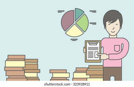 An asian man standing inside office showing his complete paperwork. Reporting concept. Vector line design illustration. Horizontal layout with a text space.