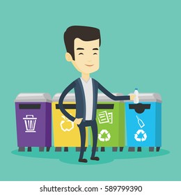 Asian man throwing away garbage. Young man standing near four bins and throwing away garbage in an appropriate bin. Concept of garbage separation. Vector flat design illustration. Square layout.