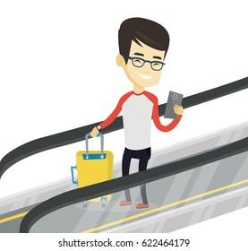 Asian man using smartphone on escalator. Man standing on escalator with suitcase and looking at mobile phone. Man going down on escalator. Vector flat design illustration isolated on white background.