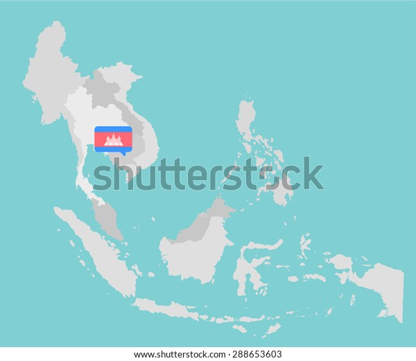 Asian Map Cambodia Point Flag Flat Stock Vector (Royalty ...