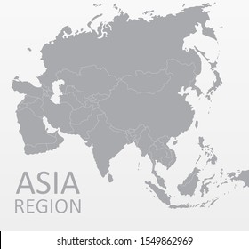 Asian Map Vector, each country is isolated and usable. Suitable for displaying statistics, infographics, reports, templates. On white grey background. Flat Earth, gray map. Silhouette backdrop.