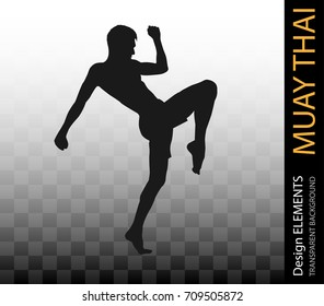 Asian Martial Art Muay Thai, Kung Fu and Tai Chi black silhouette. Self defense  exercise fight Boxing master vector on transparent background. Karate fight design  element.
