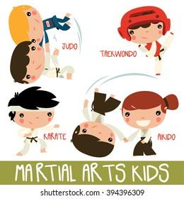 asian martial arts kids. children fighting. judo boys, taekwondo character, karate kid and aikido girl fighting boy.