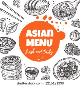 Asian menu concept design. Sweet and sour. Chinese oriental food. Hand drawn vector illustration. Can be used for cafe, market, shop, barbeque, bar, restaurant, poster, label, sticker, logo.