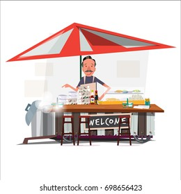 Asian noodle cart style with a merchant. street vendor. character design - vector illustration