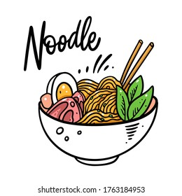 Asian Noodle. Japanese Ramen. Colorful vector illustration. Isolated on white background. Design for poster, banner, print and web.
