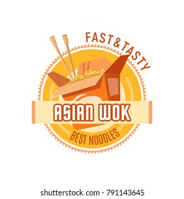 Asian noodles restaurant or Chinese wok cuisine cafe and fast food icon design template. Vector isolated symbol of Japanese or Korean ramen noodle box with chopsticks for Asia fastfood bistro menu