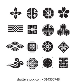 Asian ornament icon, korean, chinese, japanese vector set