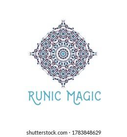 Asian ornamental emblem. Oriental geometric logo template. Vector arabic rhombus mosaic symbol