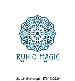 Asian ornamental emblem. Oriental geometric logo template. Vector arabic circular mosaic symbol