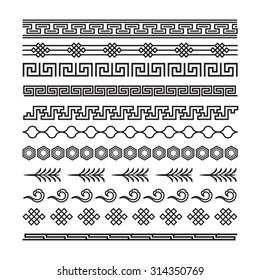 asian ornaments, chinese, japanese, korean vector set