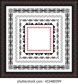 Asian ornaments collection. Frame, workpiece for your design. Historically ornamental of nomadic people. It based on real Kazakh art.