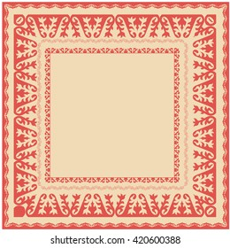 Asian ornaments collection. Frame, workpiece for your design. Historically ornamental of nomadic people. It based on real Kazakh art