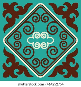 Asian ornaments collection. Historically ornamental of nomadic people. It is based on real-Kazakh carpets of felt and wool.