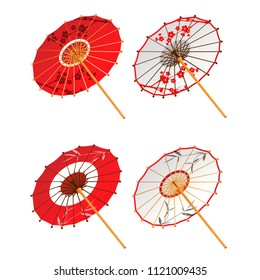 Asian paper umbrellas isolated on white background