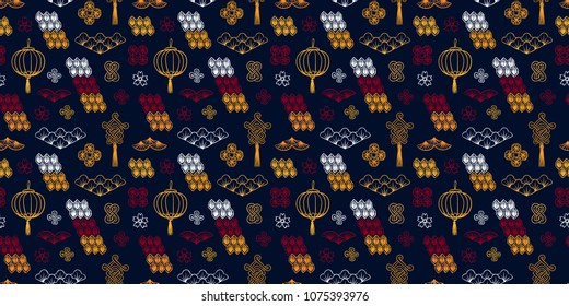 Asian pattern. Kabuki. Japanese doodles. Kabuki theatre elements. Kimono. Asia culture symbols. Oriental ornament. Chinese sketch. Fashion. China. Japan. Singapore. Korea. Vietnam. Fabric design.