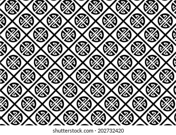 Asian pattern with symbols of black and white color.