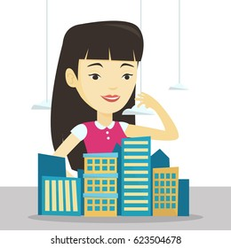 Asian real estate agent presenting a model of new district of the city. Sales manager working with a project of a new district of the city. Vector flat design illustration isolated on white background