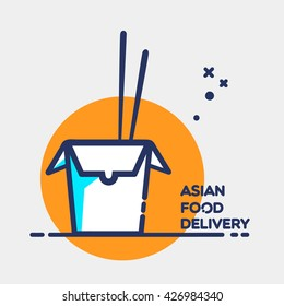 """Asian restaurant line art blue icon opened carton box with lettering """"Food Delivery"""" and chopsticks isolated on orange circle and grey background / vector eps 10"""
