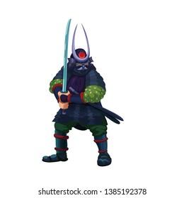 Asian samurai warrior preparing for a fight, holding a sword, vector illustration