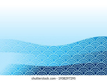 Asian sea wave background vector illustration.