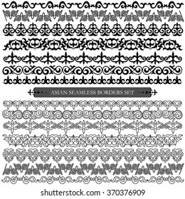 Asian set of patterns and ornaments. Set of seamless borders and brushes. Oriental, floral patterns, brush sets for design.