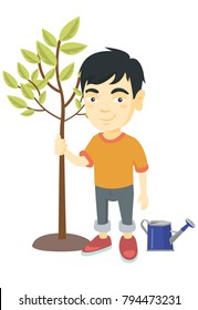 Asian smiling boy  planting a tree. Eco-friendly boy standing near newly planted tree and watering can. Vector sketch cartoon illustration isolated on white background.