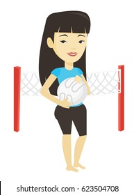 Asian smiling sportsman holding volleyball ball in hands. Young beach volleyball player standing on the background with voleyball net. Vector flat design illustration isolated on white background.