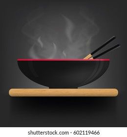 Asian soup plate on desk. Vector illustration