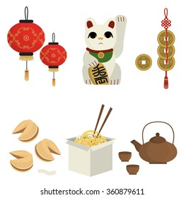 Asian souvenirs. Chinese food. Vector set