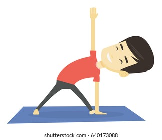 Asian sportsman meditating in yoga triangle position. Sportsman standing in yoga triangle position. Young sporty man doing yoga on the mat. Vector flat design illustration isolated on white background