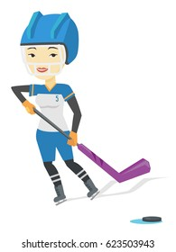 Asian sportswoman playing ice hockey. Young ice hockey player in uniform skating on rink. Smiling ice hockey player with a stick and puck. Vector flat design illustration isolated on white background.