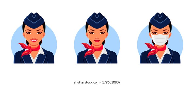 Asian stewardess with smile and medical face mask. Air hostess avatars set. Vector isolated illustrations for professional behavior in various life situations