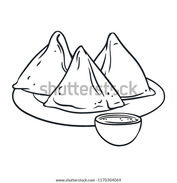 Asian Street Food Samosa Black White Stock Vector (Royalty