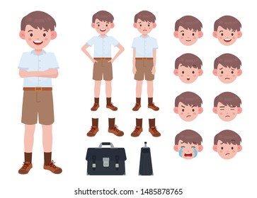 Asian student in school uniform. Thai student. Student character on isolated background.