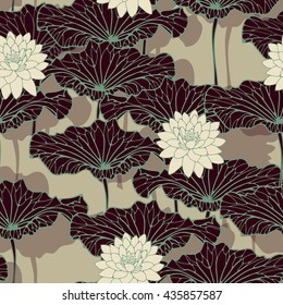 an asian style lotus pond seamless pattern in blue brown and ivory shades