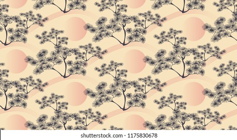 asian style seamless pattern with pine tree landscape in soft pink shades