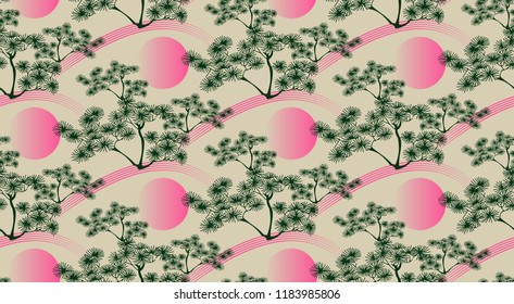 asian style seamless pattern with pine tree landscape in green and pink