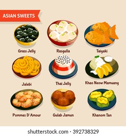 Asian sweets set with traditional desserts of chinese thai indian japanese cuisines isolated vector illustration
