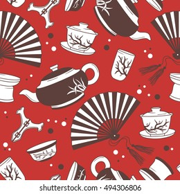 Asian tea ceremony hand drawn seamless pattern. Colorful backdrop with tea icon and culture icon set vector. Chinese tradition, wallpaper design. Traditional tea party