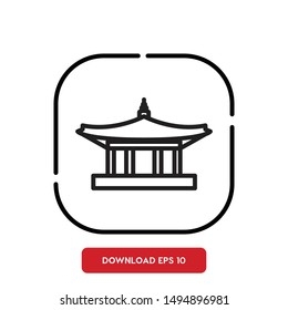 Asian Temple, China Traditional Building outline vector icon