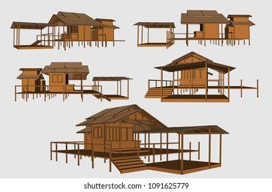 Asian Terrace House, Vector & Illustration