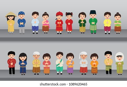 Asian in traditional costume. vector illustration