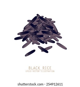 Asian traditional food of Japan, Korea and China. Vector illustration of black rice pile.
