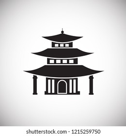 Asian traditional house on white background icon